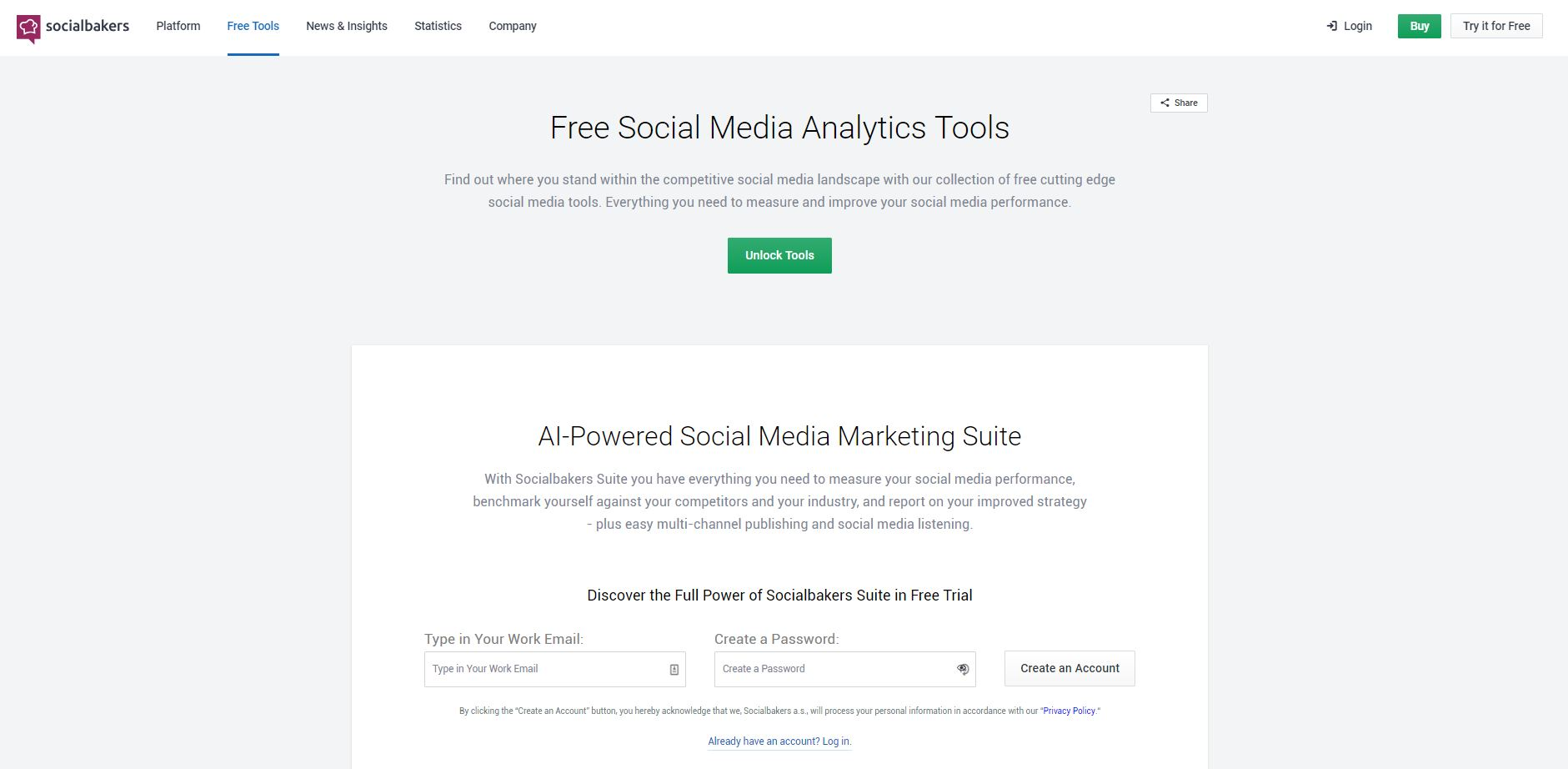 socialbakers free social tools