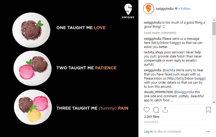 swiggy too sweet instagram post