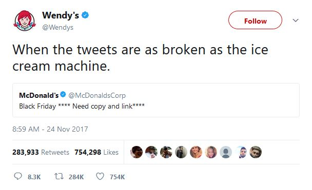 social media content example from Wendy's Twitter