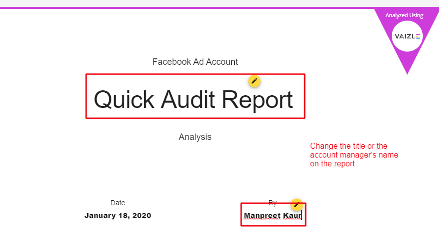 change title and account manager's name in the FB audit report