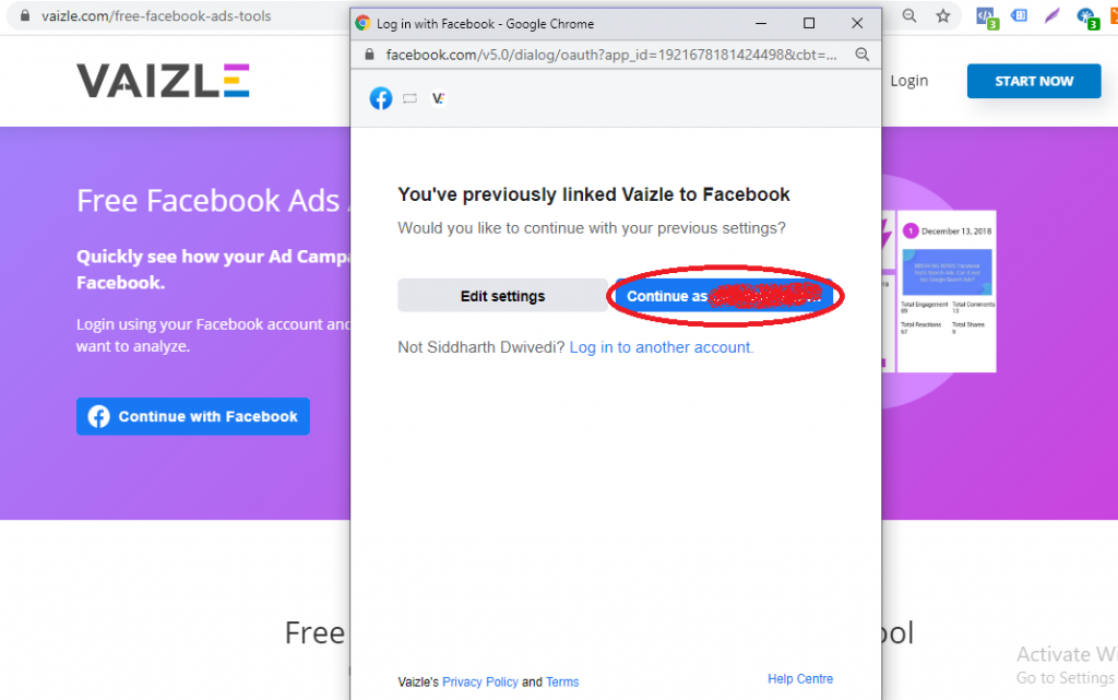 continue by authorizing Vaizle to access your FB ad account for audit