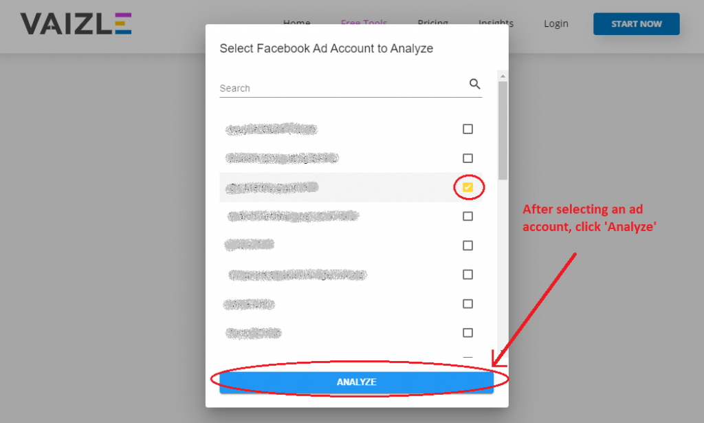 select a facebook ad account for audit