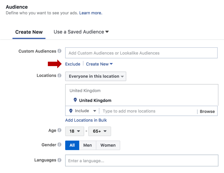 how to exclude custom audience in facebook