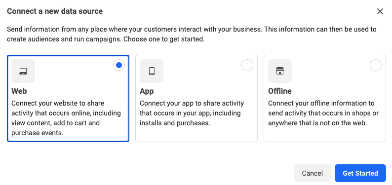 create facebook pixel in ad account